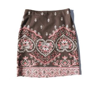 Ann Taylor LOFT silk brown, red patterned skirt 2